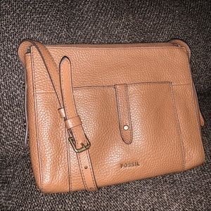Fossil Crossbody Pebbled Brown Leather Purse
